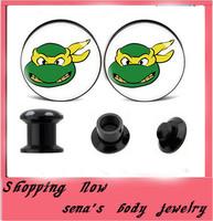 Gauge Stash plug Flesh Tunnel Body Jewelry 240pcs/lot  Free Shipping Green Monster Logo Ear Gauge Earring Expander Piercing
