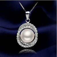 fashion women's 925 silver double crystal edge oblate 10 mm natural pearl  pendant necklace