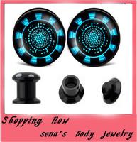 Body Jewelry Srew Fit Ear Plugs  Expanders 160pcs/lot Uv Print Disco Logo Flesh Tunnel Unisex Piercing Jewelry Free Shipping