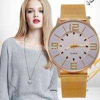 New Gold Fashion Wristwatch Women Dress Watch Quartz Ladies Watches Full Steel Lovers Fashion Watch QZ4393
