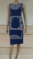 2014 rivet   Women's  Package Hip stitching Slim Round Neck Sleevless clinch bolt  Dress