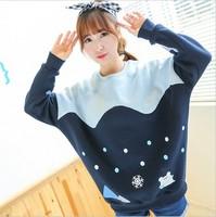 [Alice] snow flower snowman whale mix color cotton hoodies batwing sleeve loose hoodie fleece warm casual sweatshirts for women