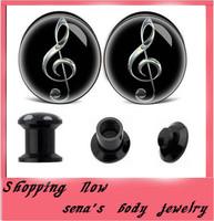 New style music note mix 4-16mm acrylic logo flesh tunnel ear gauge kits 240pcs/lot internally stash plugs &  expander piercing