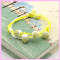 Free Shipping Fashion Handmade Knitted Bracelet Bangles Ceramic/Fish-eye Bracelet For Present 3Pcs/Lot