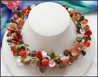 """3row 18"""" nature jade & red agate & crystal Seeds necklace"""