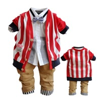 Free shipping, new boy suit, striped gentleman paragraph suit baby boy clothing set  newborn