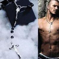 Gift Fashion David beckham rosary necklace Black bead cross chain Pendant Free shipping Wholesale