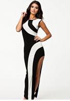 Grown prom dresses 2014 Fashion Flirty Monochrome split Maxi Evening Dress for Summer vestidos de fiesta
