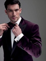 2014 New Custom made velvet wedding suits for mens 3 pieces suits (jacket+Pants+bow tie)CM7742