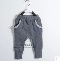 Cotton Flax trade day single boys and girls wild child baby soft fleece pants harem pants elastic waist pants feet