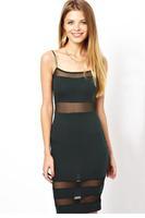 ropa mujer vestidos femininos Black Spaghetti Strap sleeveless mesh midi sexy dress women sundress apparel