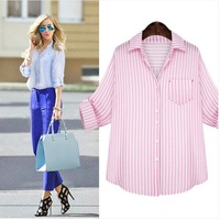 New fashion Women's Classic Striped Cotton Blouse Elegant Blue/Pink Formal Shirts Lady Pockets tops Women Work Wear 2014Autumn