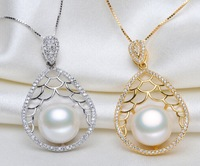 fashion women's  925 silver hollow out wavy 11-12 mm natural freshwater pearl  necklace