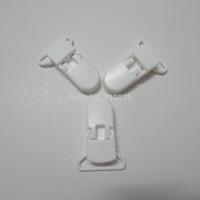 """25pcs 1"""" 25mm Wide B3 WHITE Color Kam Plastic Pacifier Clips"""