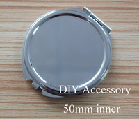 20kits silver metal vintage round blank compact double side pocket mirror bezels tray