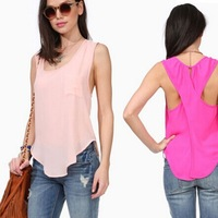 summer models sexy tops for women  Slim Pocket Sexy Cross backless Chiffon vest pullover  tank top blouse cheap clothes china