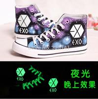 2014 nwe Harajuku high fluorescence luminous eyes help sponge thick bottom hand-painted shoes, single shoes couple canvas shoes