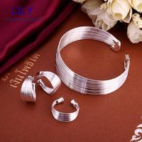 S312 Wholesale Indian Jewelry Prata 925 Christmas Gift Sterling Silver Jewellery Sets Bracelets Earrings Rings Jewlery Set