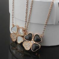 Luxury Brand White Seashell / Black Agate Crystal Stone Four Leaf Clover Pendant Necklace 18k Rose Gold Titanium Stainless Steel