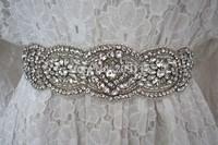 Free Shipping Wedding sash, Bridal belt , Bridal sash - satin ribbon with crystal and rhinestone beaded applique