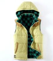 yellow color Plants vs . zoombies male suede fabric patchwork plaid hooded reversible cotton vest