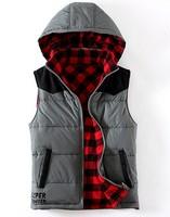 gray color Plants vs . zoombies male suede fabric patchwork plaid hooded reversible cotton vest