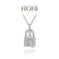 Wholesale ROXI Fashion Accessories Jewelry CZ Diamond  Austria Crystal Love Lock Pendant Necklace for Women