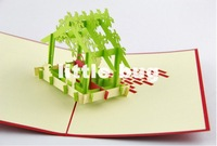 Free shipping 3D House Christmas cards Xmas Post Cards/Custom Kirigami cards /Blessing Pop up card 10pcs/lot at wholesale price