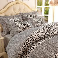 korean bedding Princess bedding set 100% cotton  leopard children sheets duvet cover set kid bedspreads girls
