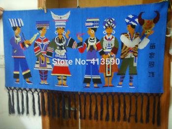 Оптовая продажа синий мяо костюмы росписи от мяо национальности имеют очень высокое коллекционную ценность редкие подарки с ручной работы + бесплатная доставка