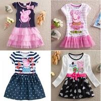 Free shipping 2014 pig girl's dress baby girls summer dresses children clothing Kids cartoon wear child girl clothes