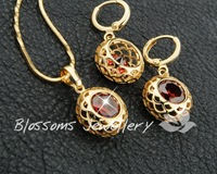 Wholesale / Retail Charming 18k Yellow  gold filled Womens pendant earring Set GF Jewelry 2014 NEW