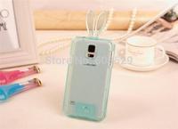 2014 Free shipping Crystal Rabbit Soft TPU Case For Samsung Galaxy S3 S4 S5,MOQ 1PCS