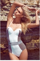 Color Blocking Bustier Top One-piece Swimsuit LC40954 Swim suit