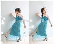 1 set free shipping Girl Fall Long sleeve Dress Frozen Princess Elsa  Cotton Lace Mesh Sequins Skinny Cloak Dress
