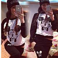 Women Clothing Black Mouse Cute 2 piece Sport suit Femal Sportwear Hoody tracksuit S M L