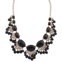 Free PP Hot Chic Women Black Resin Beads Fan Bib Statement Fashion Necklace New Jewelry Wholesale Retail Free Shipping#110085