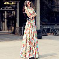 Verragee Autumn Winter Dress Floral Print V Neck Dress Floor Length Long Maxi Dress Party Evening Dresses Women 2014