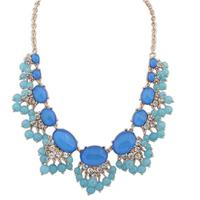 Free PP Hot Chic Women Blue Resin Beads Fan Bib Statement Fashion Necklace New Jewelry Wholesale Retail Free Shipping# 110087
