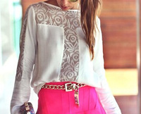 2014 new shoulder sleeve hook flower hollow stitching ladies fitting long sleeved chiffon shirt free shipping
