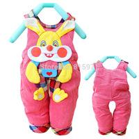 2014 New baby casual winter warm pants character rabbit children bib clothing 2054