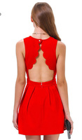 Free shipping 2014 Fashion women's back gear hollow out dress sexy sleeveless pleated one piece dress solid color red dress
