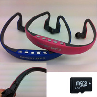Neckband sports mp3 earpods Cheap portable mp3 music player headsets head phone with FM radio + 4GB TF card + Free Ship