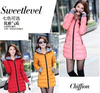 HOT New Women's cotton-padded jacket 2014 winter medium-long down cotton plus size jacket female slim ladies jackets and coats