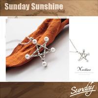 Korean TV drama actress necklace Pearl pentagram necklaces Short paragraph clavicle chain necklace