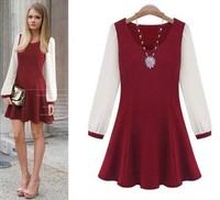new 2014 autumn winter woman lady chiffon dress casual basic patchwork fashion V-Neck long sleeve vestidos plus size XL~5XL