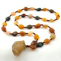Tibetan Antique Jewelry Unique Natural Ancient Erodent Agate Handmade Pendant Necklaces Freedom Shape #12