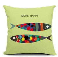 fish print square pillow case sofa car cushion cover