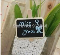 (Free Shipping CPAM)15Pcs/Lot Cute Mini Wooden Blackboard Chalkboards Paper Clips Wholesale