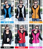 Female down jacket padded detachable cap casual fashion women cotton-padded jacket padded women's sports down coat